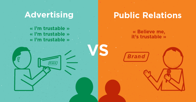 What is the difference between public relations and advertising?